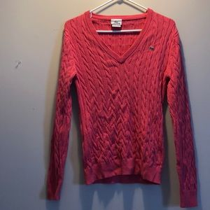 Pink Lacoste Cable Knit Sweater